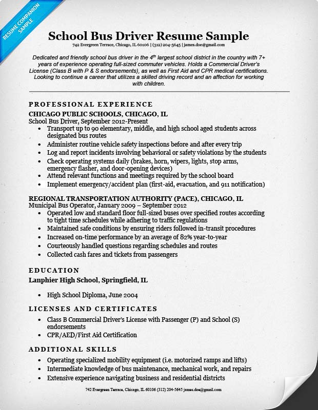 Resume Sample For Bus Driver