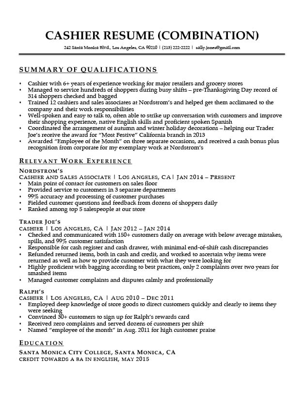 Cashier Resume Sample Resume Companion - sample summary of qualifications on resumes
