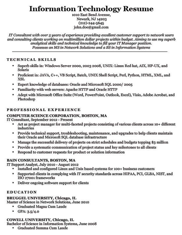 Information Technology (IT) Resume Sample Resume Companion - Technology Resume