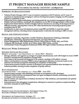 Information Technology (IT) Resume Sample Resume Companion - sample of it resume