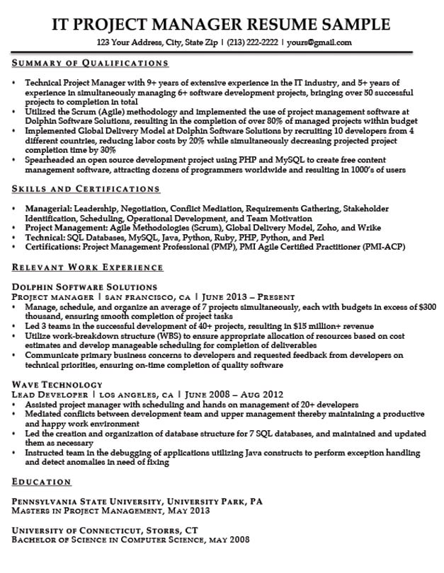Project Manager Resume Sample  Writing Tips Resume Companion - Project Manager Resume Summary
