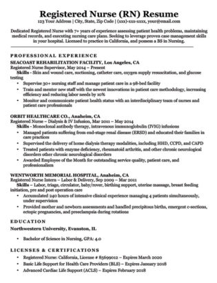 Licensed Practical Nurse (LPN) Resume Sample  Writing Tips RC - Sample Lpn Resume