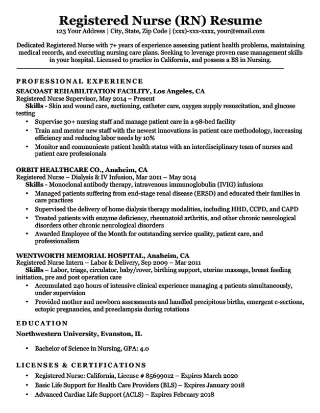 Registered Nurse (RN) Resume Sample  Tips Resume Companion - Sample Resume For Registered Nurse