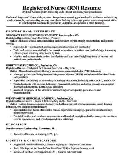Registered Nurse (RN) Resume Sample & Tips | Resume Companion