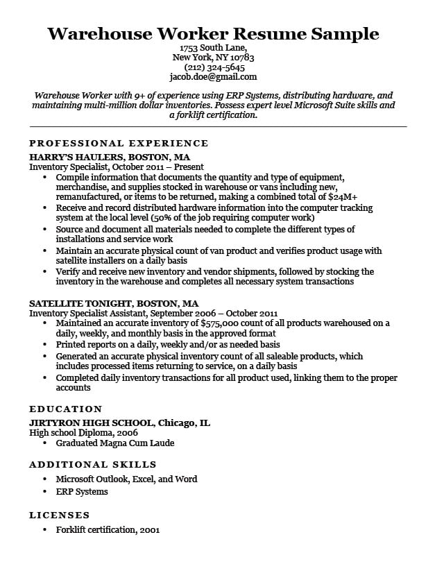 Warehouse Worker Resume Sample Resume Companion - examples of warehouse resume