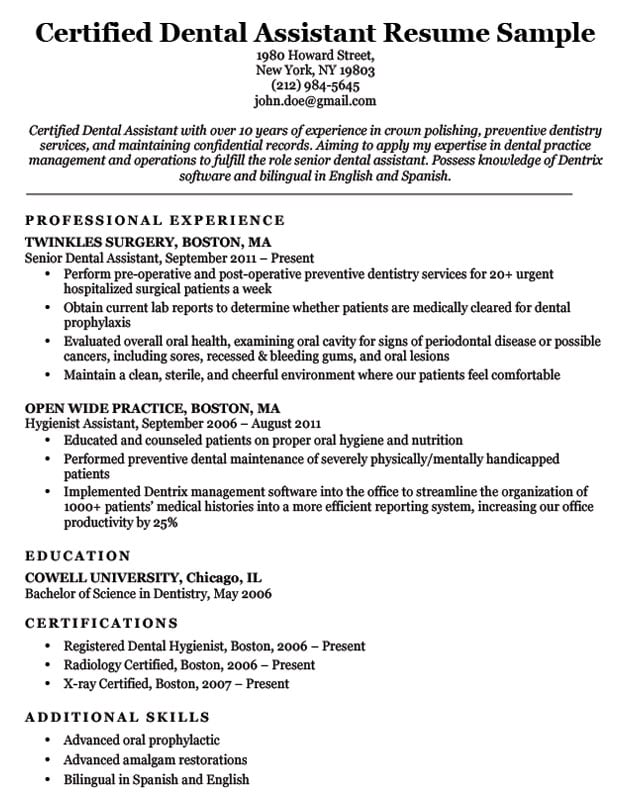 Dental Resume Examples  Writing Tips Resume Companion - Dental Resume Templates