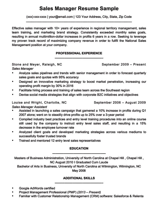 sales manager experience resume samples