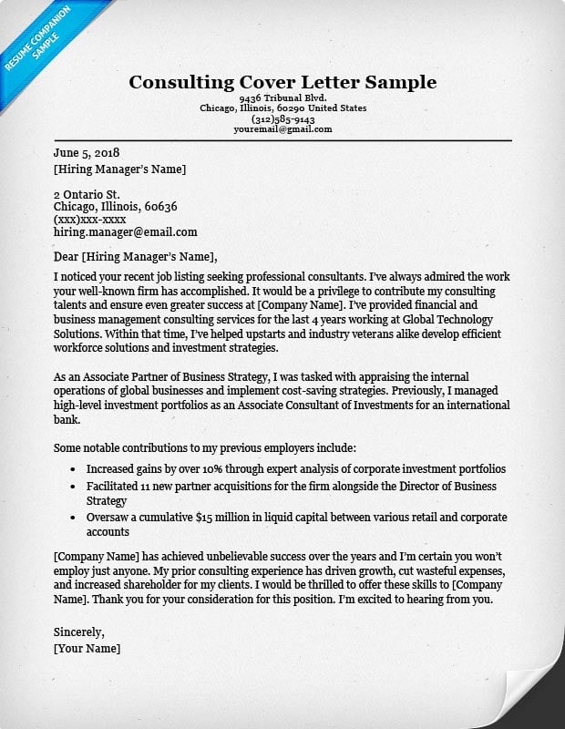 Consulting Cover Letter Sample  Writing Tips Resume Companion - consulting cover letter