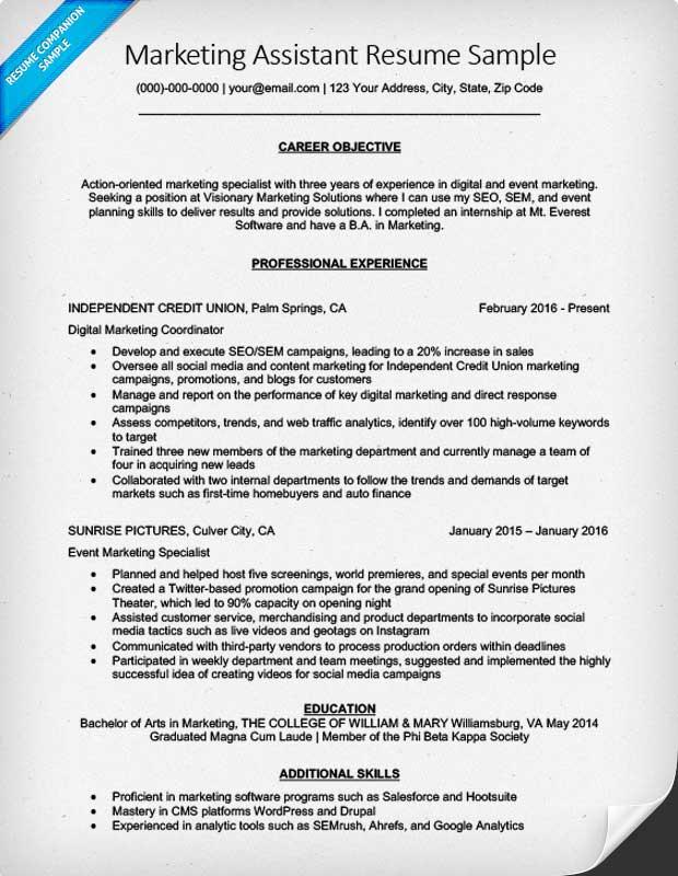 Sample Marketing Assistant Resume Marketing Assistant Resume - marketing assistant resume sample