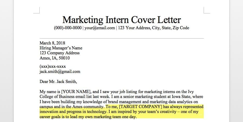 Marketing Intern Cover Letter Sample  Guide Resume Companion - Internship Cover Letter