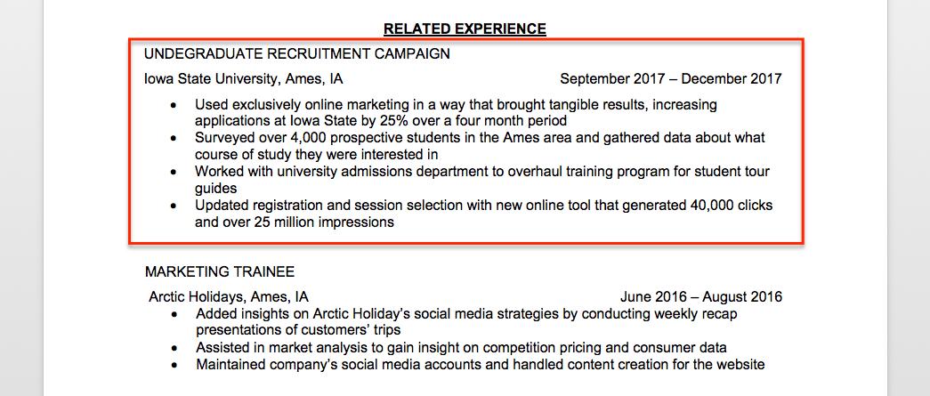 Marketing Intern Resume Sample Writing Tips Resume