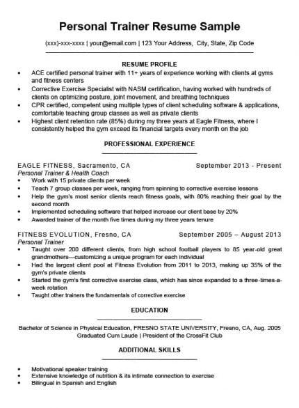 resume samples personal trainer