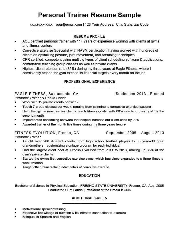 Personal Trainer Resume Sample  Writing Tips Resume Companion - health trainer sample resume