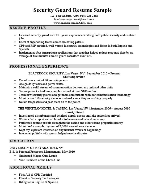 Security Guard Resume Sample  Writing Tips Resume Companion - casino security officer sample resume