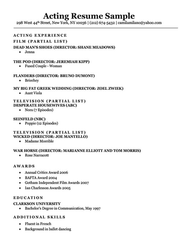 Acting Resume Sample  Writing Tips Resume Companion - Sample Of Acting Resume