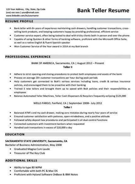 how to write a resume for bank teller position