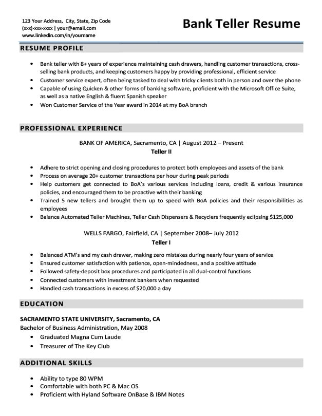 resume profile for banking