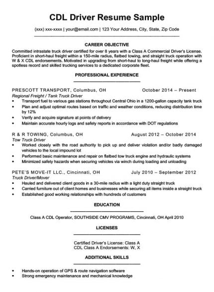 resume examples route driving