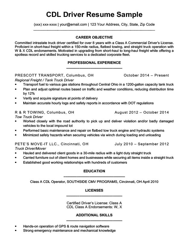 CDL Driver Resume Sample  Writing Tips Resume Companion - cdl owner operator sample resume