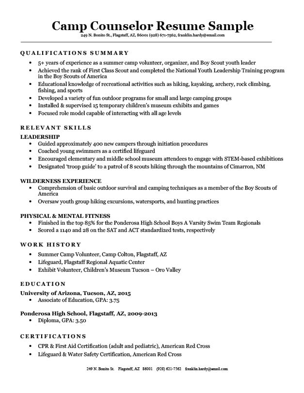 sample resume summer camp counselor