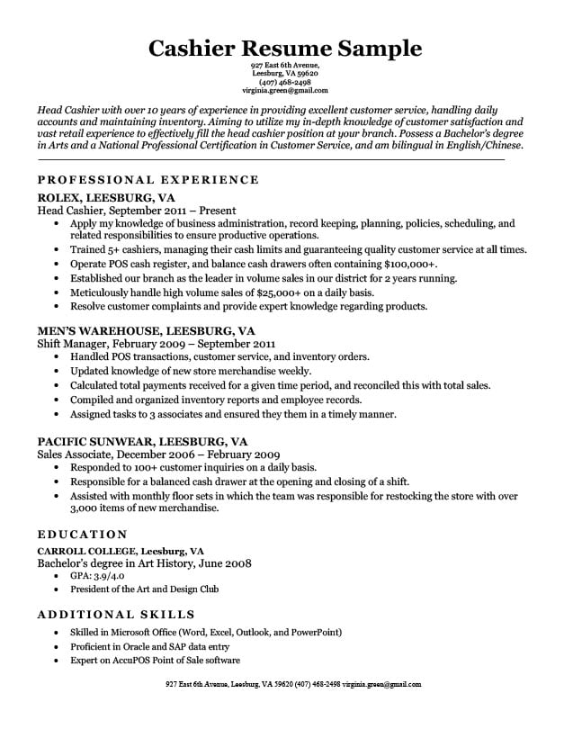 Cashier Resume Sample Resume Companion - customer service retail sample resume