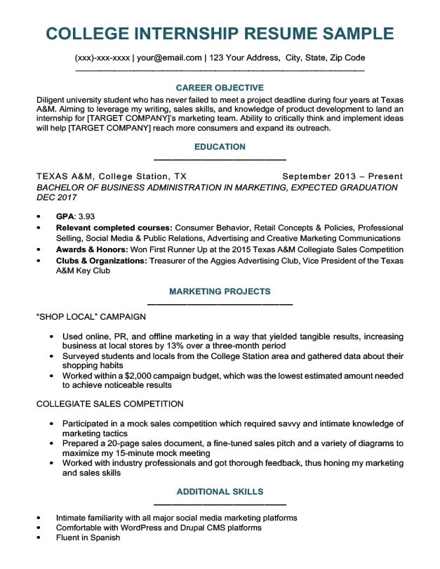 College Student Resume Sample  Writing Tips Resume Companion - sample college internship resume