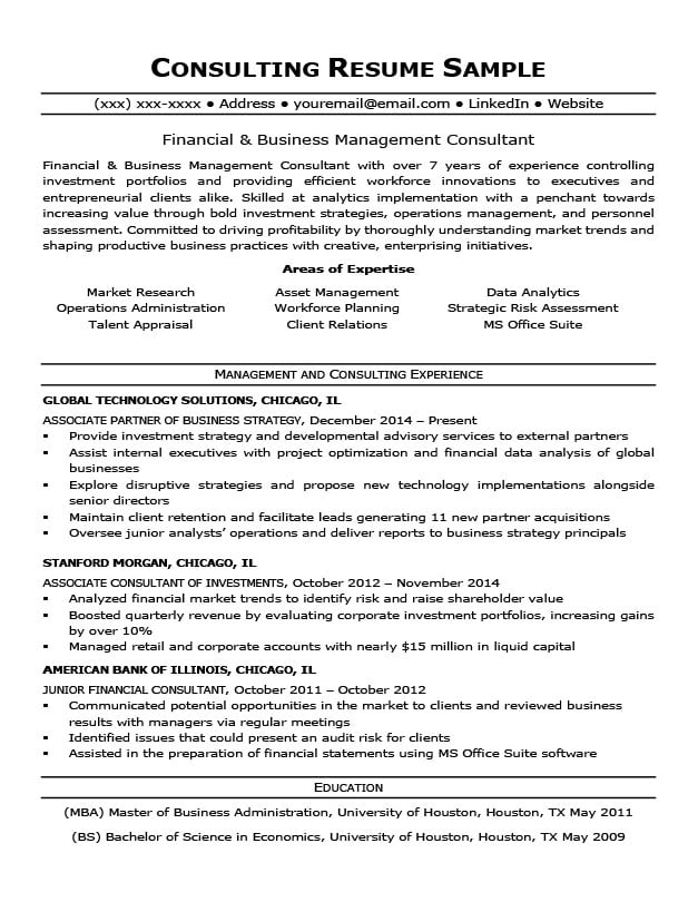 Consulting Resume Sample  Writing Tips Resume Companion - resume consulting