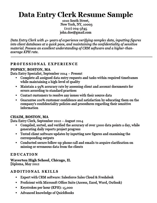 Data Entry Clerk Resume Sample Resume Companion - data entry sample resume