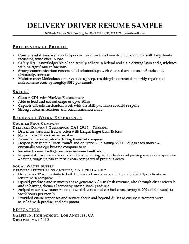 resume summary for fedex driver