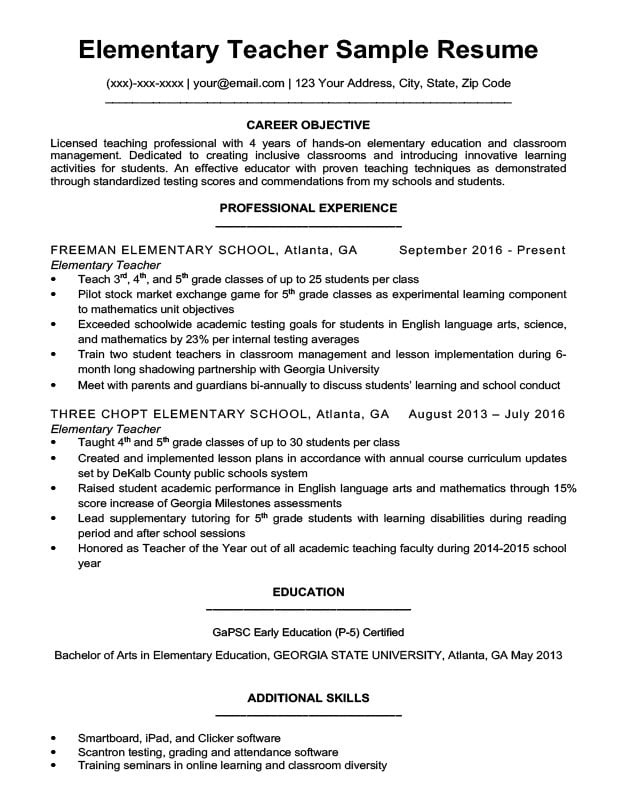 Elementary Teacher Resume Sample  Writing Tips Resume Companion - Educational Resume Examples