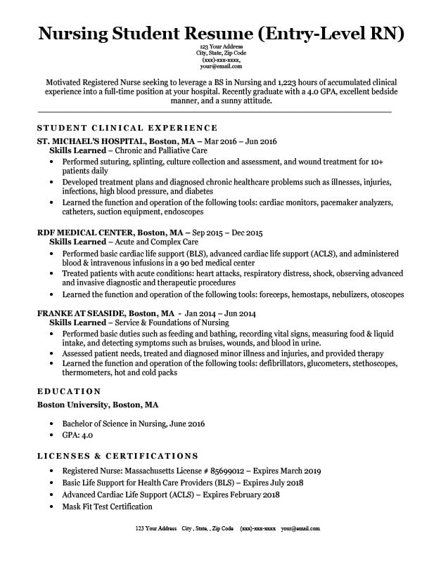 Entry-Level Nursing Student Resume Sample  Tips ResumeCompanion - Nursing Resumes Samples