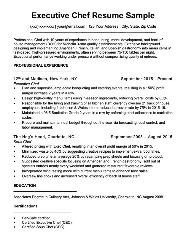Downloadable Chef Resume Samples  Writing Tips RC - head chef resume
