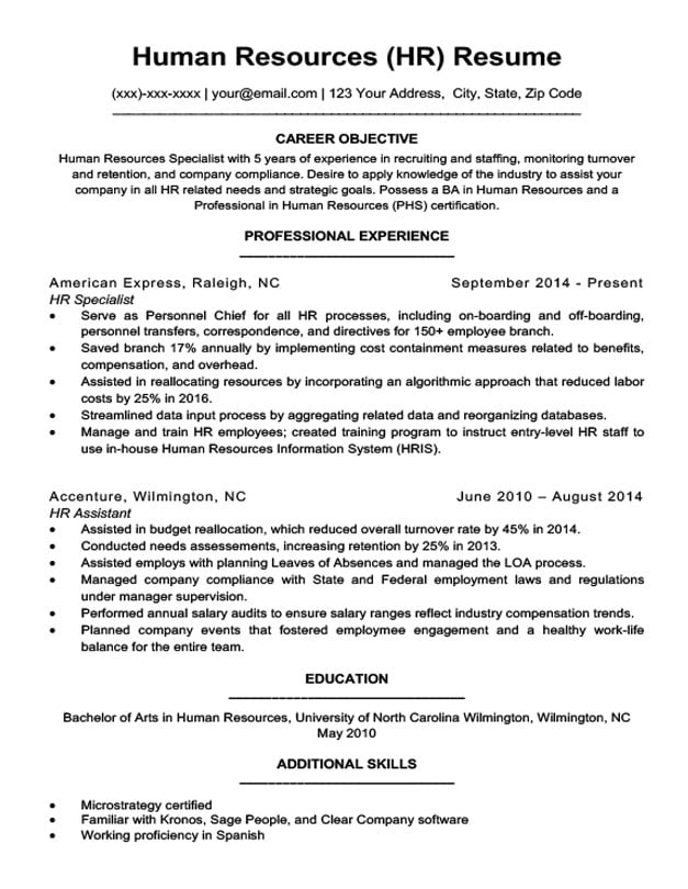 Human Resources Resume Sample  Writing Tips Resume Companion