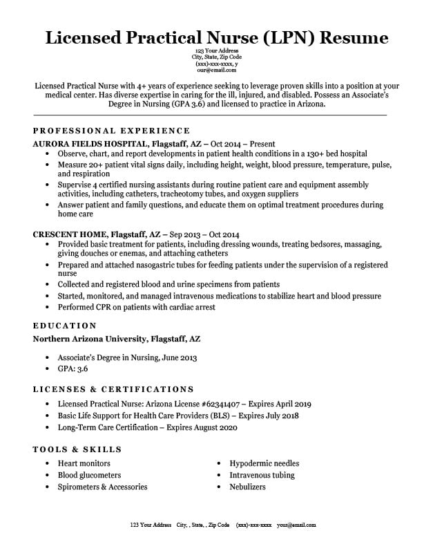 Licensed Practical Nurse (LPN) Resume Sample  Writing Tips RC - Nurses Resume Samples