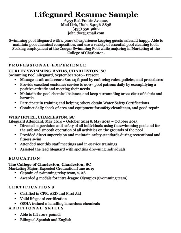 Lifeguard Resume Sample  Writing Tips Resume Companion