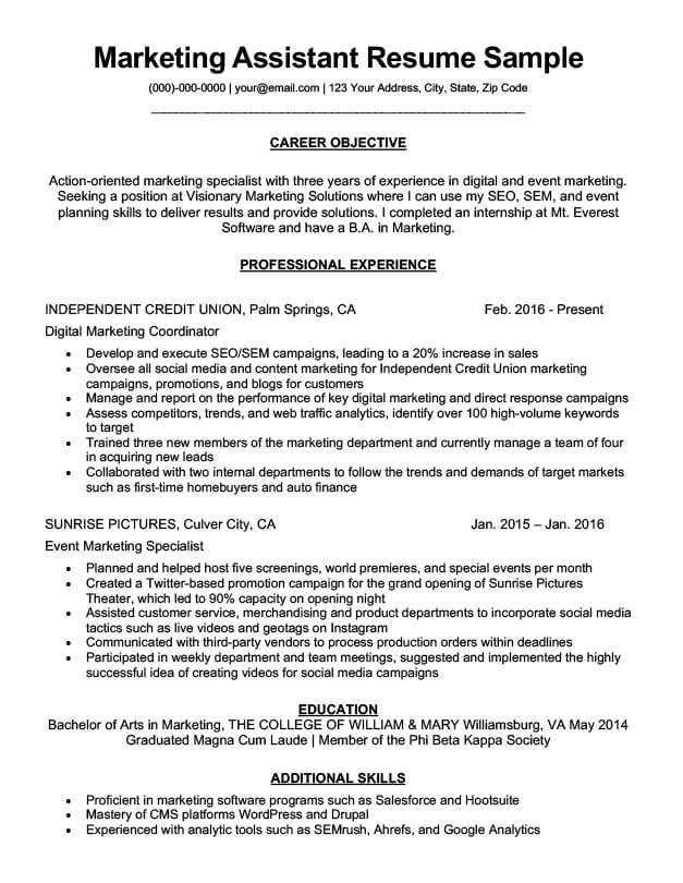 Marketing Assistant Resume Sample  Tips ResumeCompanion