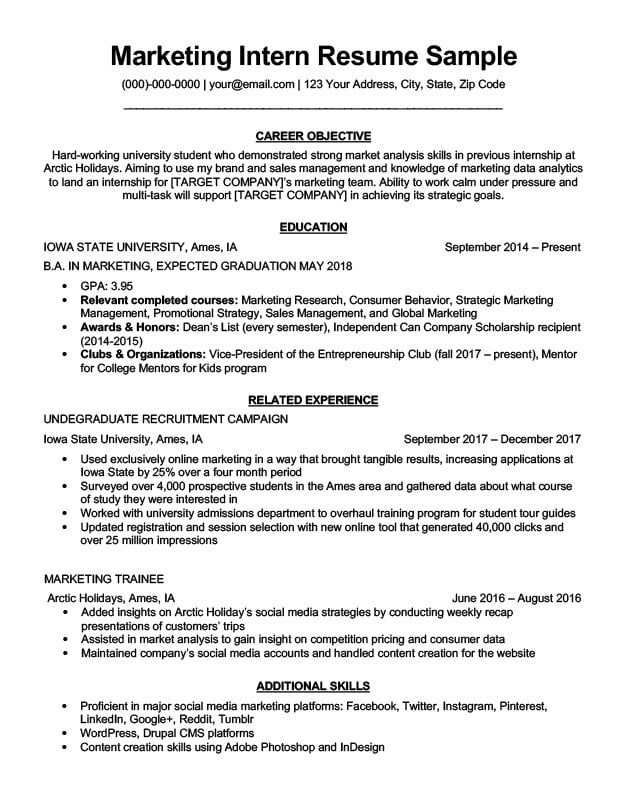 Marketing Intern Resume Sample  Writing Tips Resume Companion - Sample Resume For An Internship