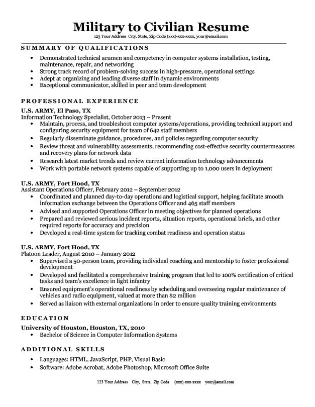 Military to Civilian Resume Sample  Tips Resume Companion - military to civilian resume samples