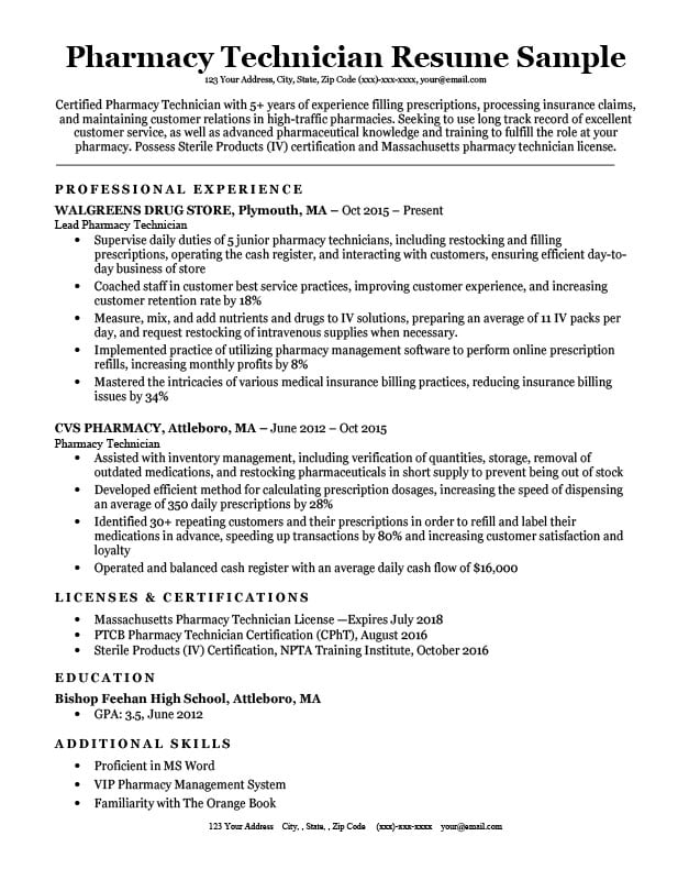 Pharmacy Technician Resume Sample  Tips ResumeCompanion - pharmacy technician resume