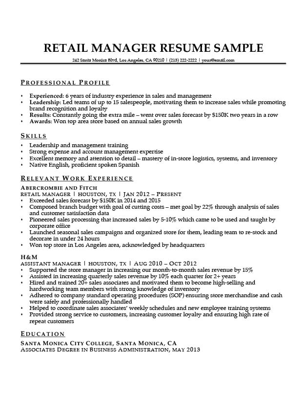 Retail Manager Resume Sample  Writing Tips Resume Companion - profile on a resume example