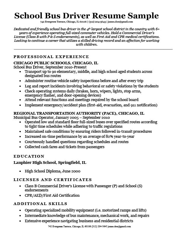 bus driver resume examples