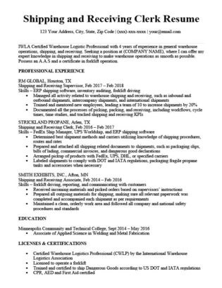 Shipping and Receiving Clerk Cover Letter Sample  Guide RC