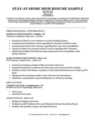 Stay-At-Home Mom Cover Letter Sample ResumeCompanion - Stay At Home Returning To Work Resume