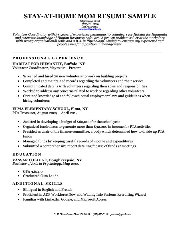 Stay-At-Home Mom Resume Sample  Writing Tips Resume Companion - Stay At Home Returning To Work Resume