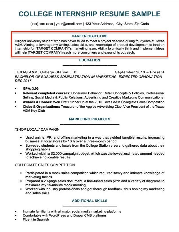 Resume Objective Examples for Students and Professionals RC - internship objective resume