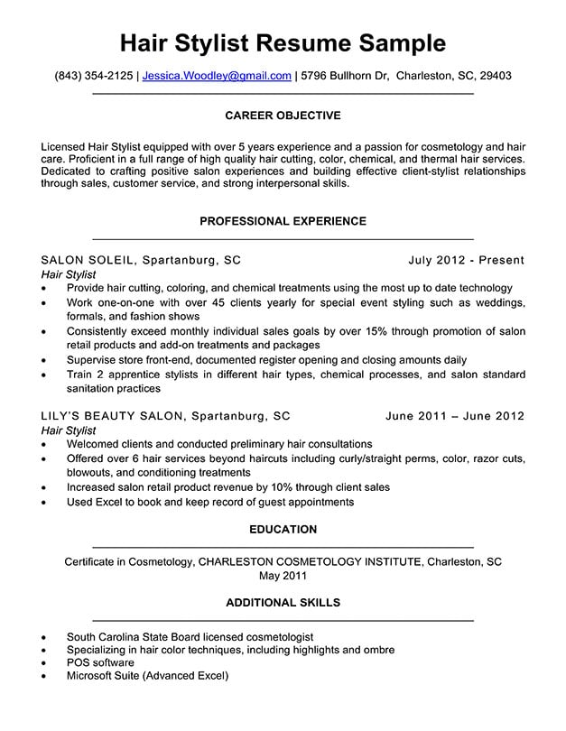 Hair Stylist Resume Sample  Writing Tips Resume Companion - resume hair stylist