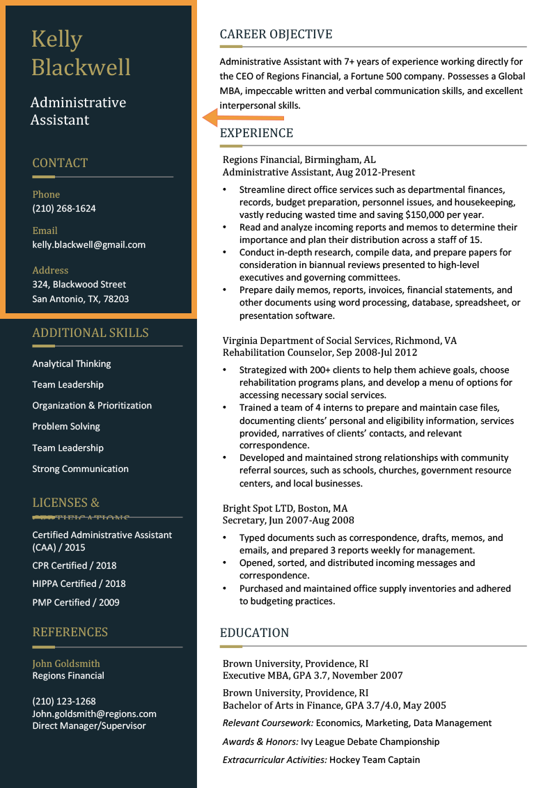 modern resume header side