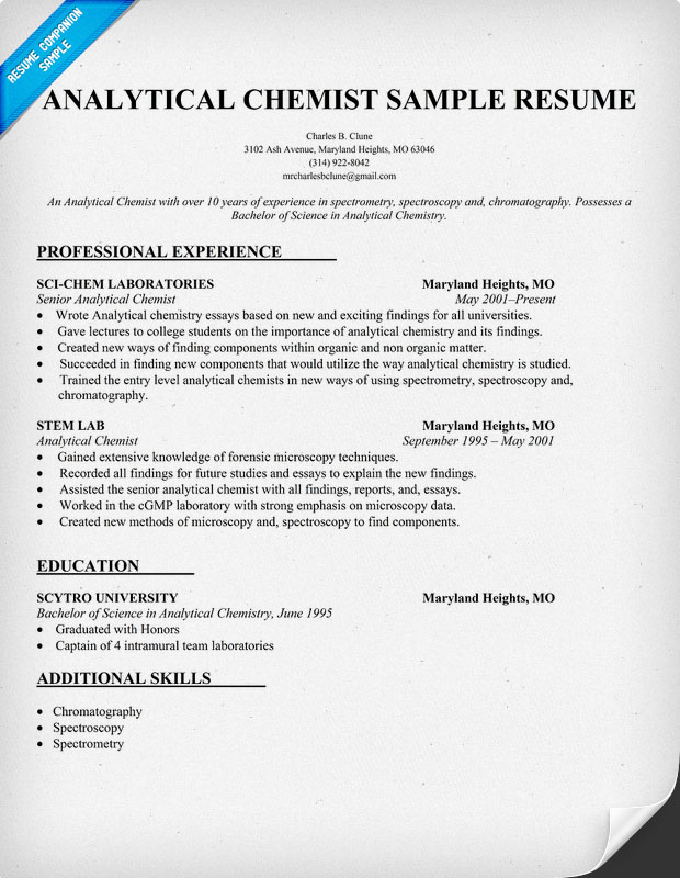 analytical chemist cv sample