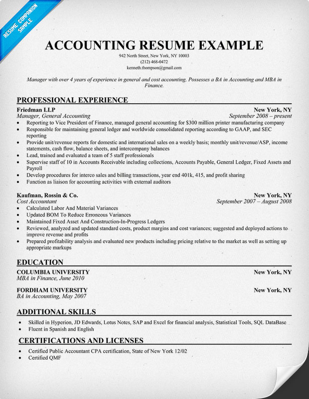 Example Of Accountant Resume - cost accountant resume