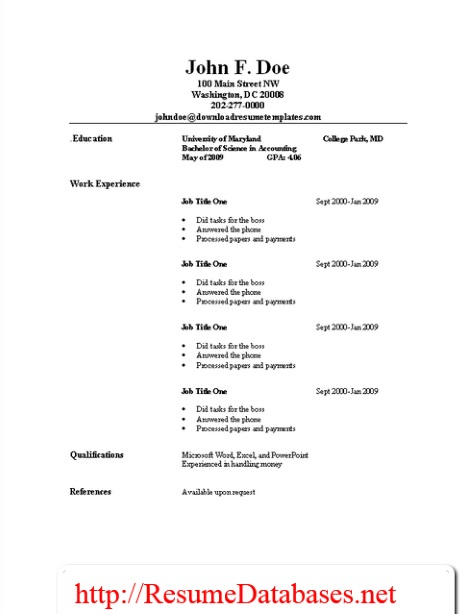 Job Resume Samples and Guides Resume Templates - Resume Guide